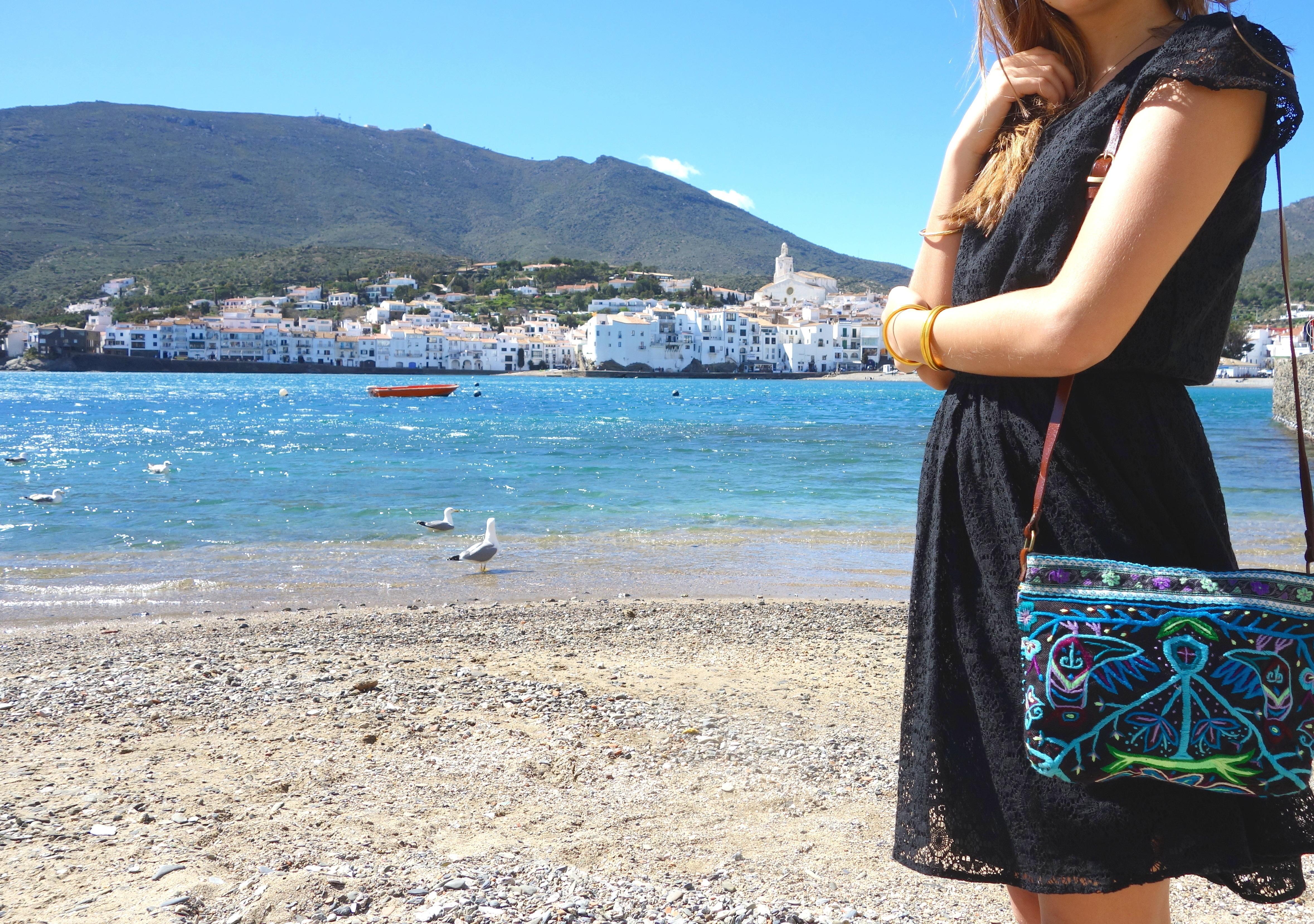 Sac Frida Mini sac en tissu brodé des minorités mong bleu Cadaques