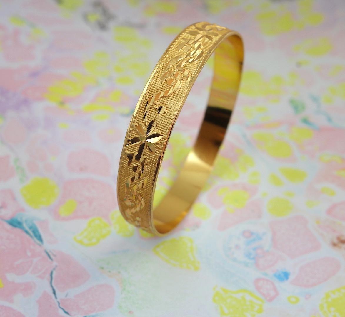 bracelet-babylon-roulotte-laiton-dore-or-ouvrage-fleuri-retro