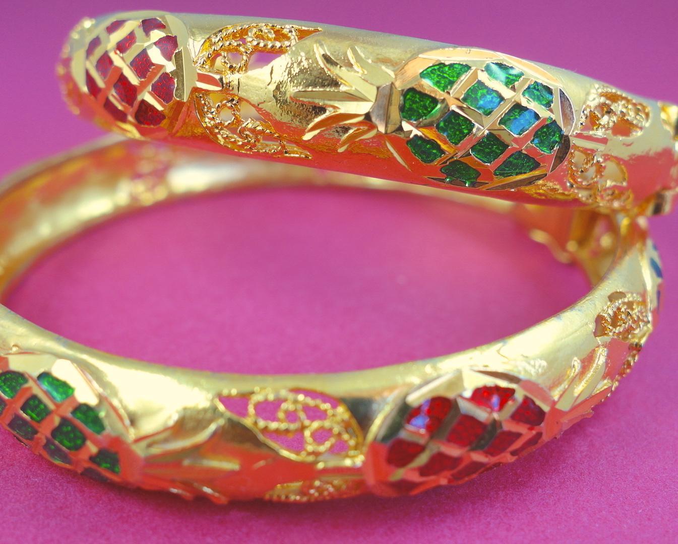 bracelet-jonc-ananas-roulotte-or-colore-ethnique-boheme