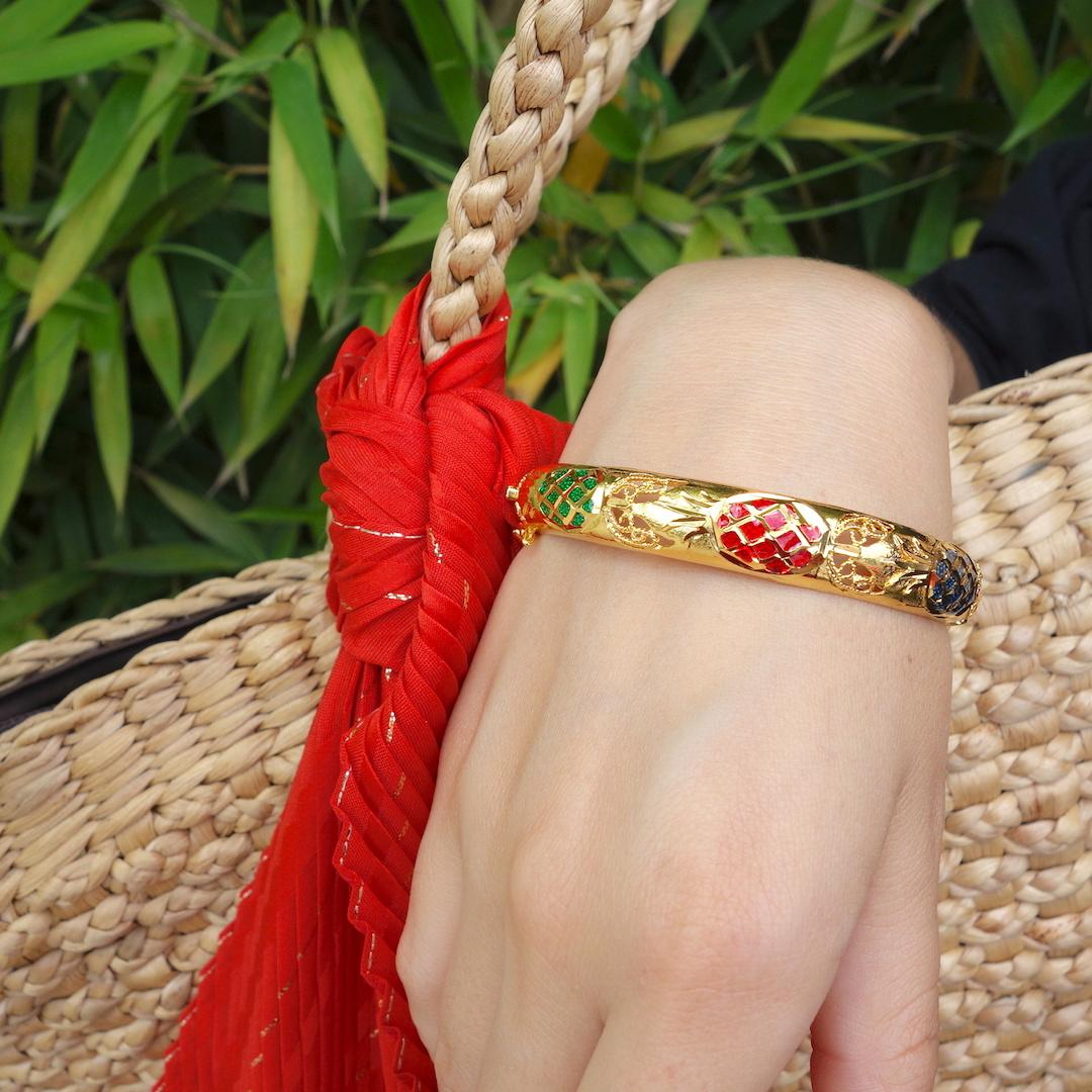 bracelet-jonc-ananas-roulotte-or-colore-ethnique-chic