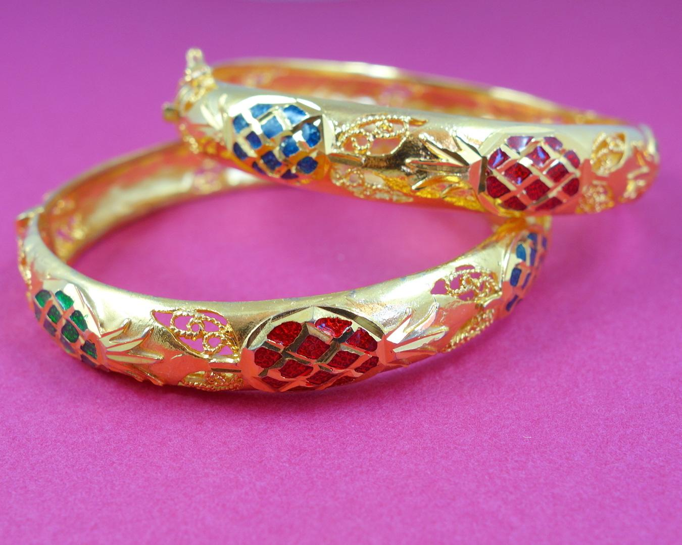 bracelet-jonc-ananas-roulotte-or-colore