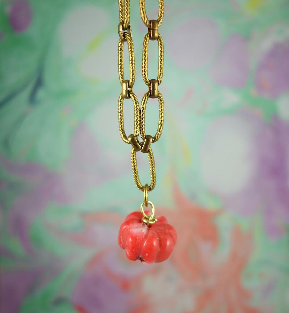 Bracelet gourmette Pondichery laiton vieil or fleur de corail esprit vintage
