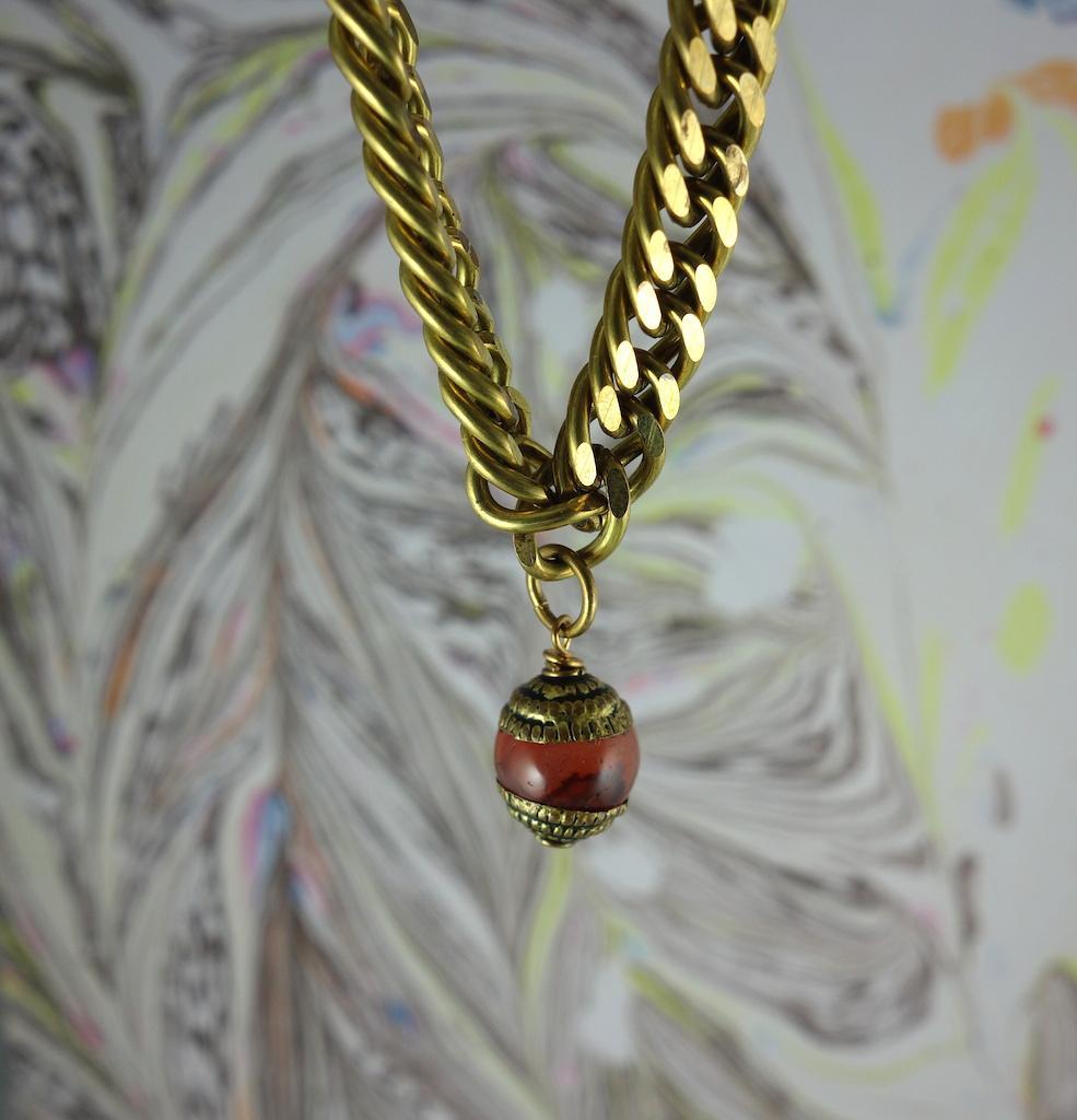 Bracelet gourmette Tachkent laiton vieil or vintage ambre bohème ottoman