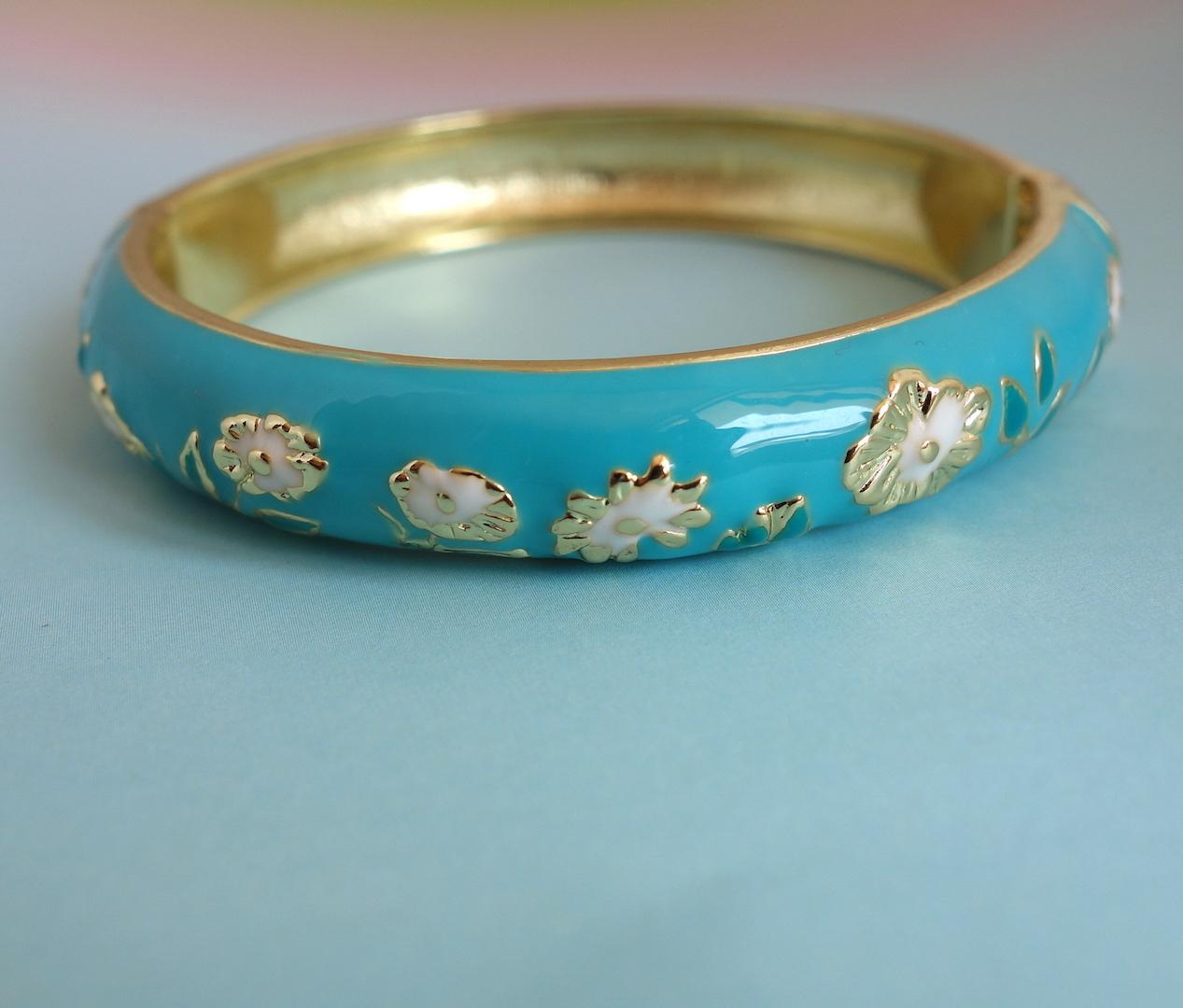 bracelet_in_the_mood_for_love_bleu_turquoise_emaille_fleuri_or
