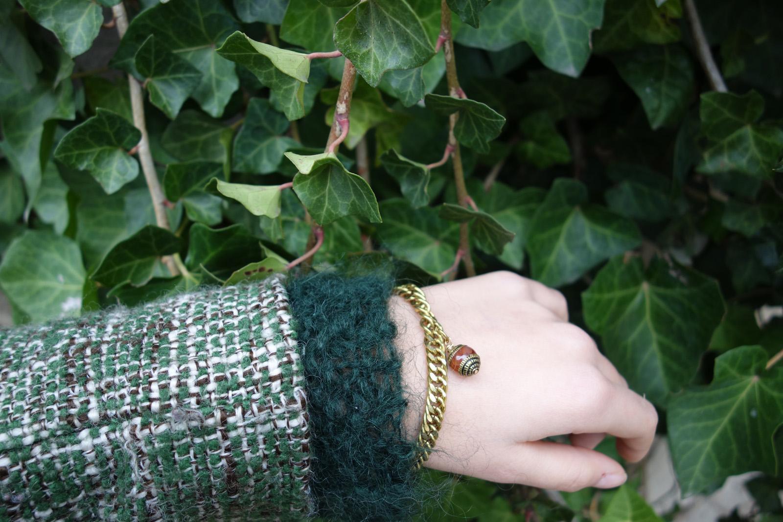 Gourmette bracelet Tachkent grosse maille ambre et laiton vintage ottoman