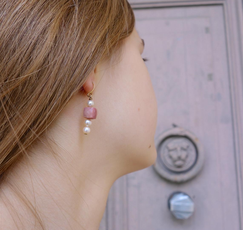 boucle oreille princesse roulotte mannequin quartz rose perle dormeuse dore or fin