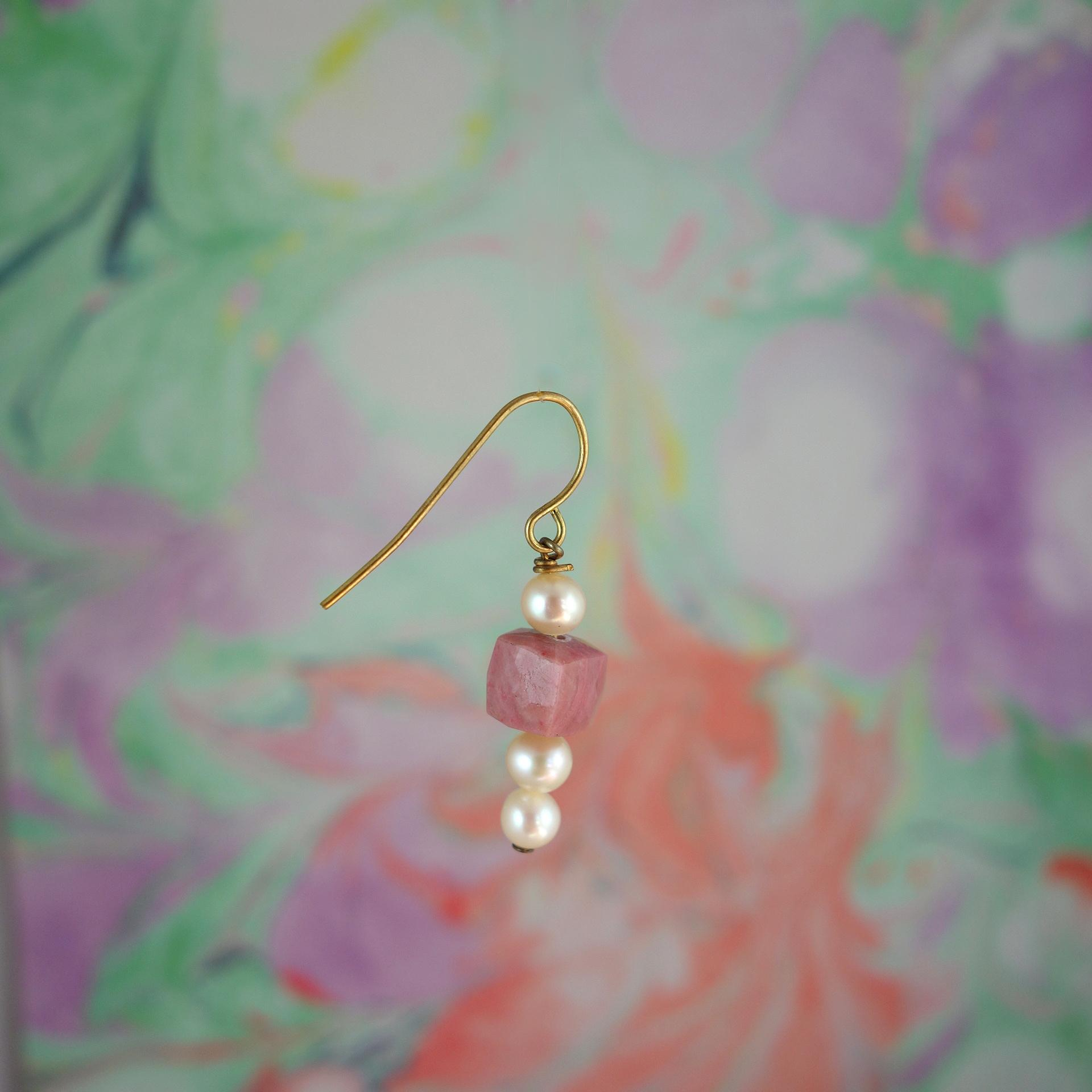 boucle oreille princesse roulotte quartz rose perle dormeuse dore or fin