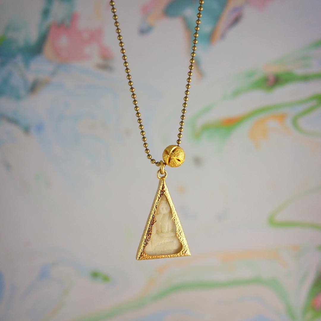 collier-bouddha-roulotte-laiton-perle-or-plaque-chaine-boules-thailande-talisman