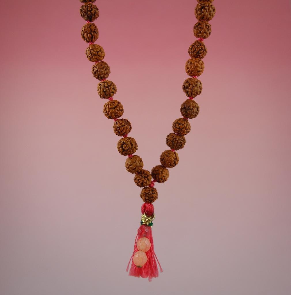 Collier talisman mini mala graînes pierres semi precieuses