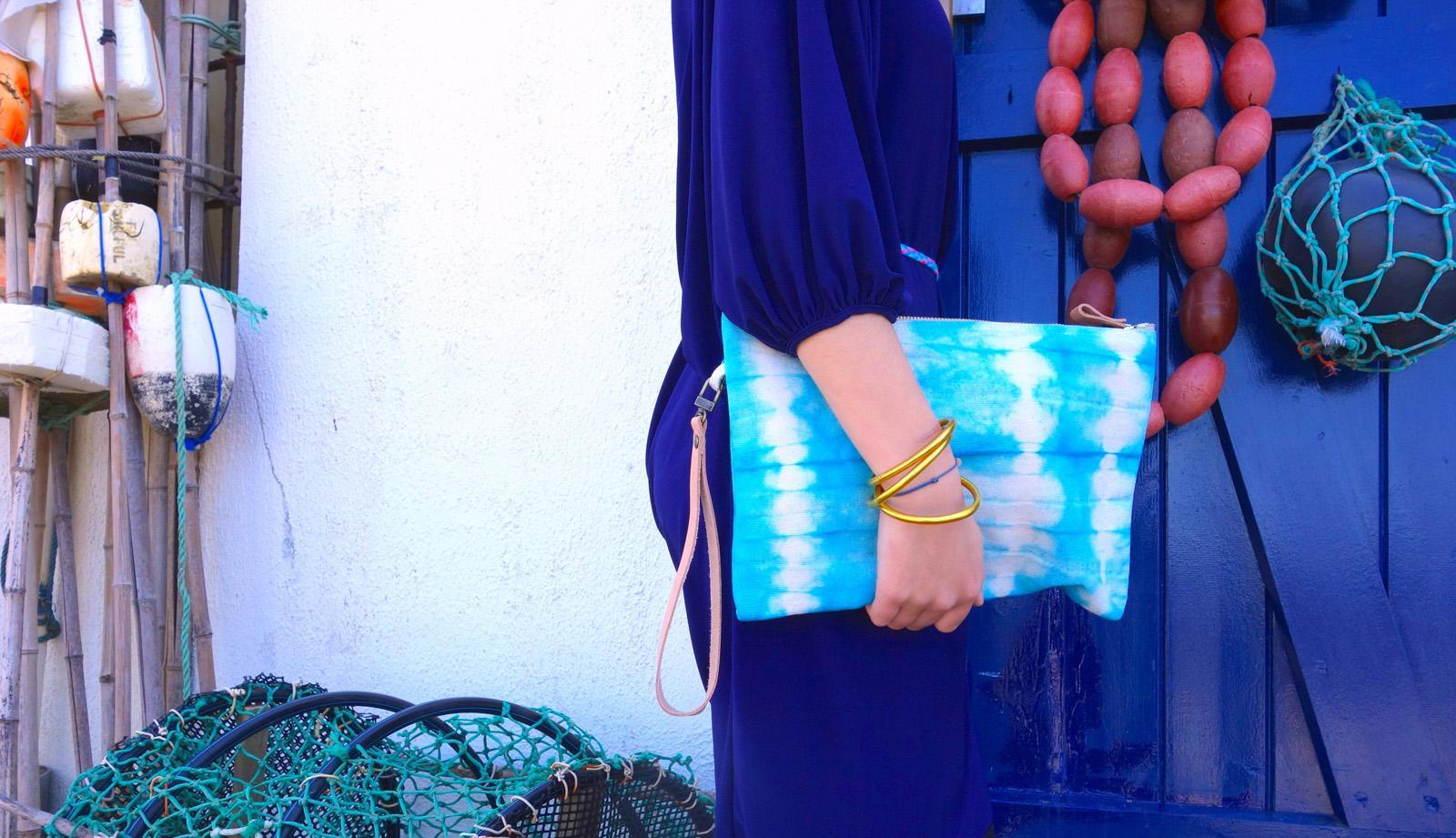 Pochette St Tropez XL mini sac trousse de voyage ty and die turquoise bleu outremer anse cuir
