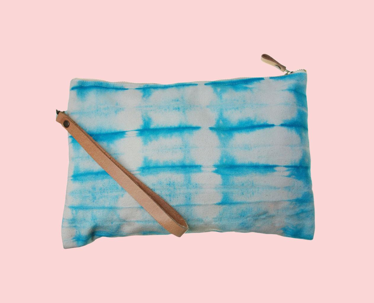 Sac pochette Saint Tropez canvas de coton ty and die turquoise anse cuir amovible